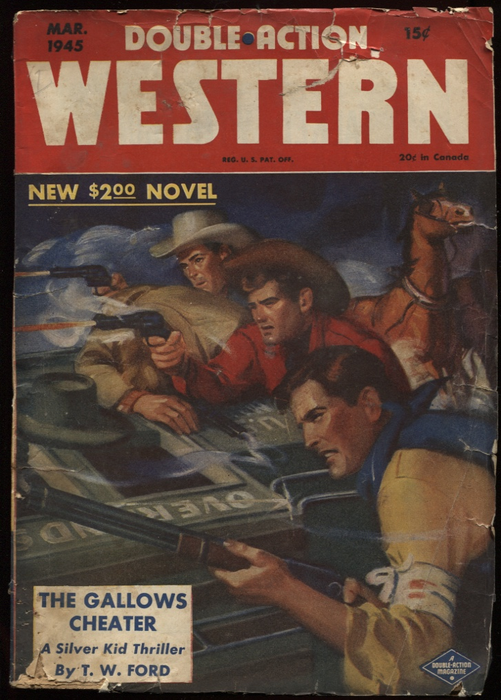 "Image for Double Action Western 1945 March. ""The Gallows Cheater."""