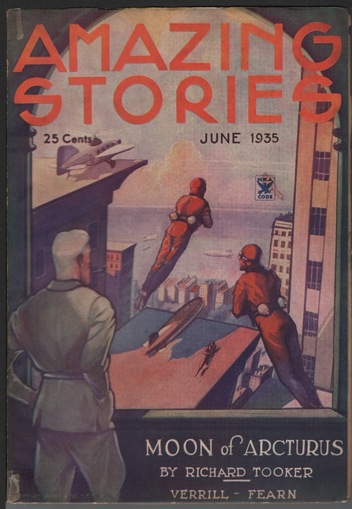 Image for Amazing Stories 1935 June. Zeppelin cover.