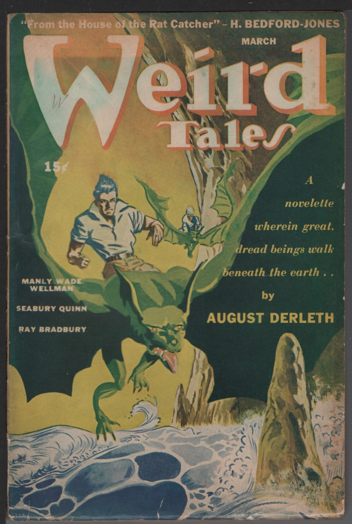 Image for Weird Tales 1944 March. Contains the Trail of Cthulhu